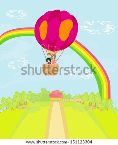 Family flying a hot air balloon over the rainbow - stock vector