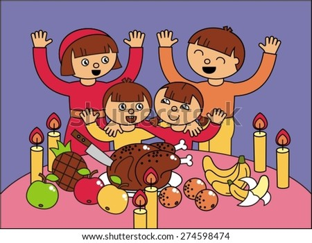 family for the holiday table, vector illustration