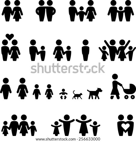Family & friends icon set. Vector icons for digital and print projects.