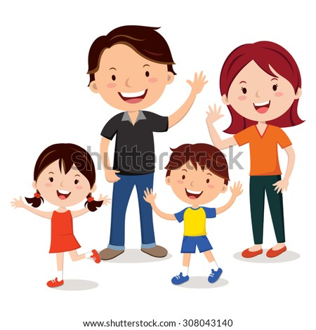 Family fun. Family. Happy family gesturing with cheerful smile. - stock vector