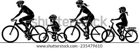 Family Fun Riding Bicycle - stock vector