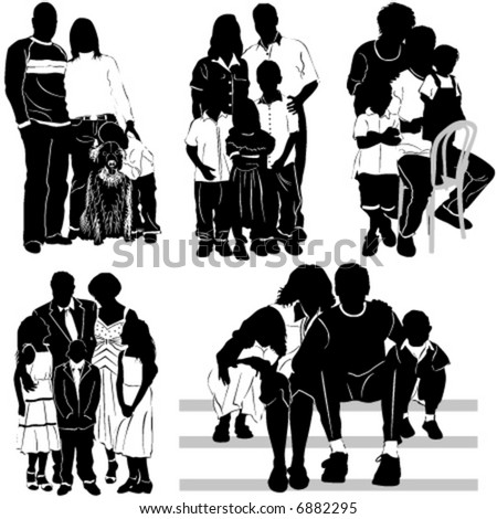 family group (clothes detail) - stock vector