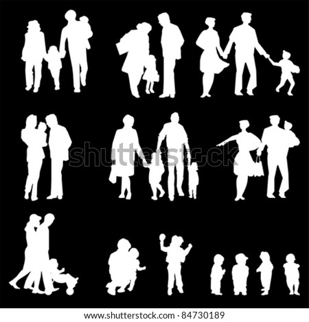 family groups, vector - stock vector