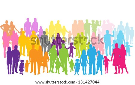 family groups, vector work - stock vector