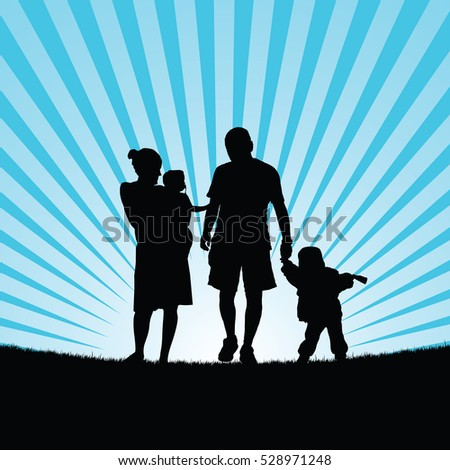 family happy with children walking in nature silhouette color illustration