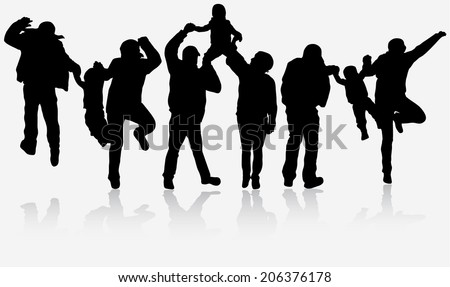 Family have fun together - stock vector