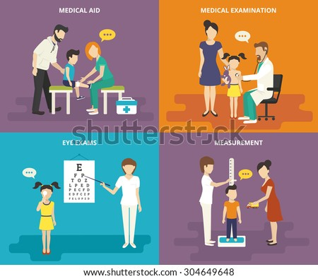 Family healthcare collection. Family concept flat icons set of medical aid, visiting a doctor, eye exams and measurement of growth - stock vector
