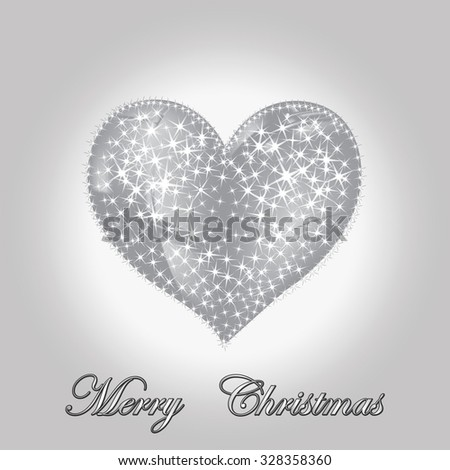 Family holiday, winter holidays, december, heart, greetings, Merry Christmas and Happy New Year, positive emotions, good humor, star, gift cards, Christmas decorations, 2016, vector, illustration - stock vector