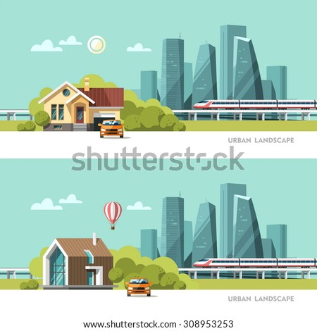 modern house green family home traditional modern house cityscape stock vector