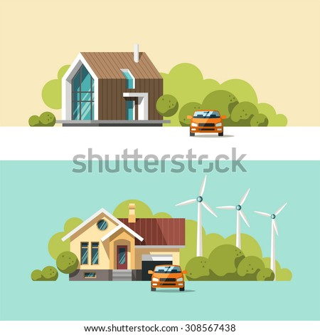 Family home. Traditional and modern house. Flat design vector concept illustration. - stock vector