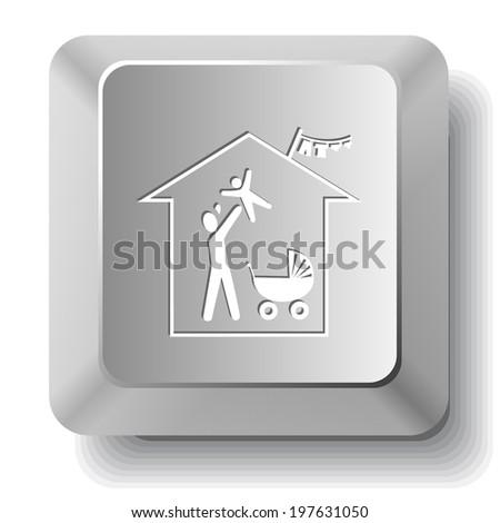 Family home. Vector computer key. - stock vector
