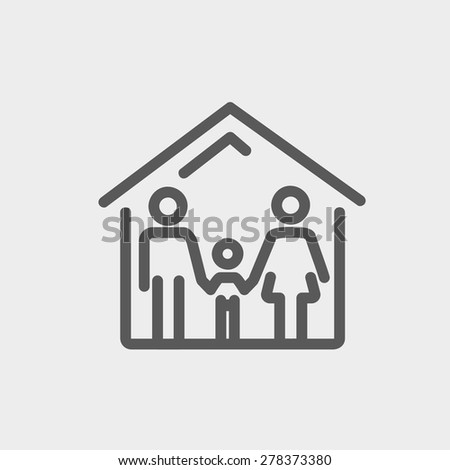 Family house icon thin line for web and mobile, modern minimalistic flat design. Vector dark grey icon on light grey background. - stock vector