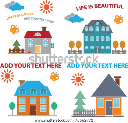 family house icons, signs, vector illustrations