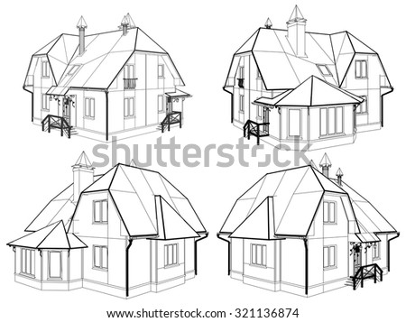 Family House Perspective Vector 04 - stock vector