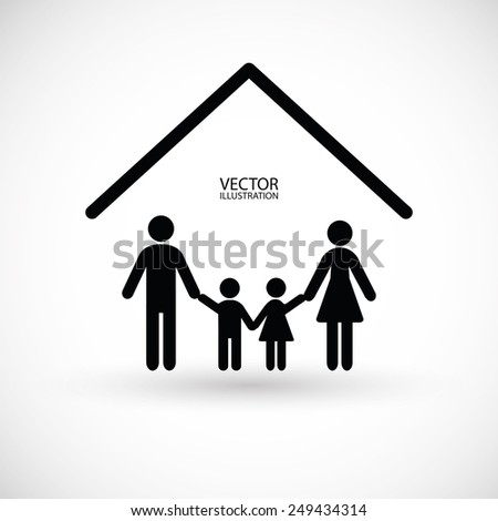 Family, house symbol and a place for text.
