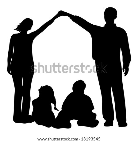 family house vector silhouette - stock vector
