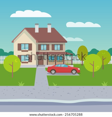 Family house village or town suburb property building with car flat vector illustration - stock vector