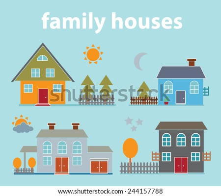 family houses, buildings, yards icons, signs, illustrations on background, vector set - stock vector