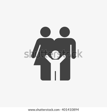 Family Icon in trendy flat style isolated on grey background. Parents symbol for your web site design, logo, app, UI. Vector illustration, EPS10. - stock vector