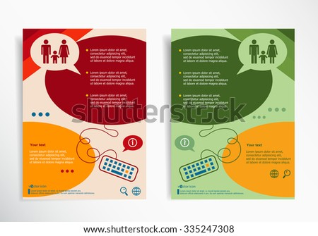 Family icon on abstract brochure design. Set of corporate business stationery templates. Modern back and front flyer backgrounds.