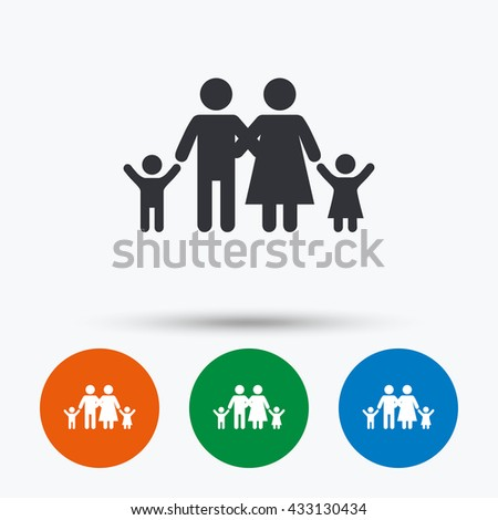 Family icon. Parents with children symbol. Family insurance. Round circle buttons with icon. Vector