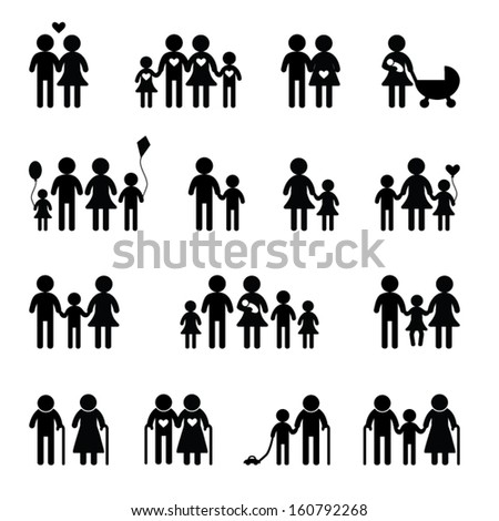 Family icon set on black and white - stock vector