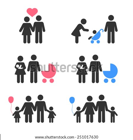 Family icons collection, isolated on white background, vector illustration