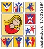 Family Icons collection of nine stylized illustrations of people and families.  - stock