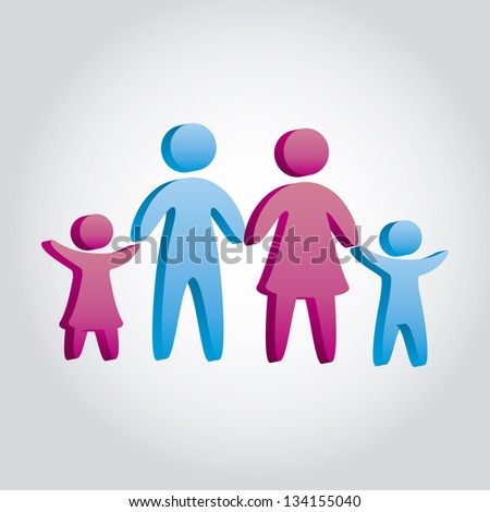 family icons over gray background. vector illustration - stock vector