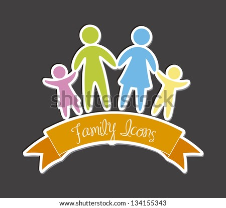 family icons over gray background. vector illustration