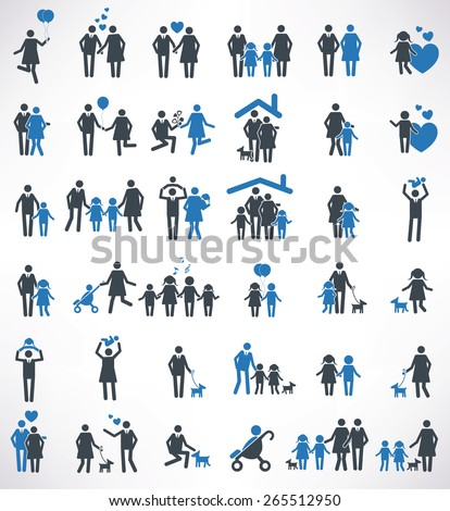 Family icons set,blue version ,clean vector - stock vector