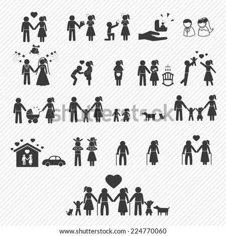 family icons set. illustration eps10 - stock vector