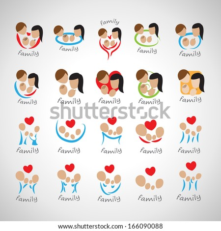 Family Icons Set - Isolated On Gray Background - Vector Illustration, Graphic Design Editable For Your Design.   - stock vector