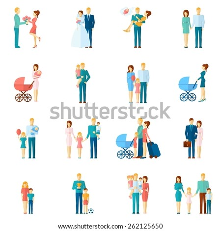 Family icons set with married couple people relationship symbols isolated vector illustration - stock vector