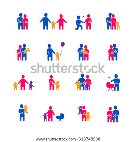 Family icons set with parents children and love symbols flat isolated vector illustration  - stock vector