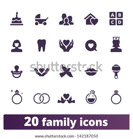 Family icons: vector set of home, love, baby, engagement, wedding signs - stock vector