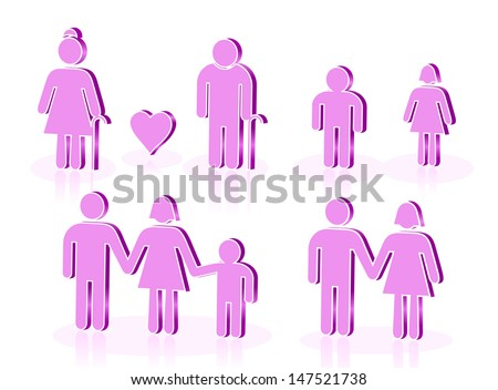 FAMILY ICONS 2. Vectorial image easy to modify.  - stock vector