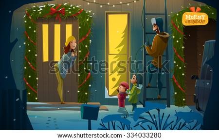 Family idyll on Christmas night - stock vector