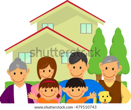 Family illustration (with house) [vector]