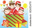 Family in gift box during christmas - stock vector