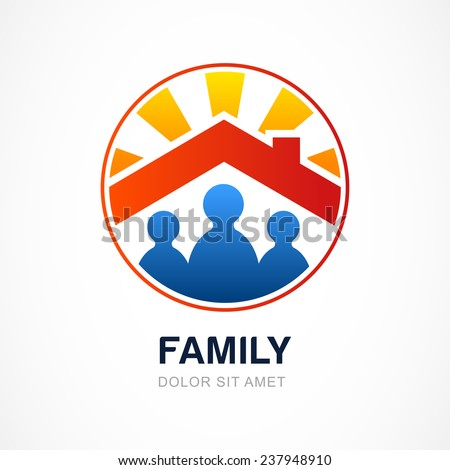 Family in house, vector illustration. Real estate logo design template. - stock vector