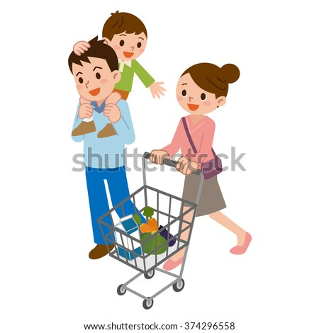 Family in shopping - stock vector