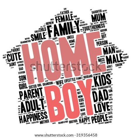 Family info-text graphics and arrangement concept (word cloud) - stock vector