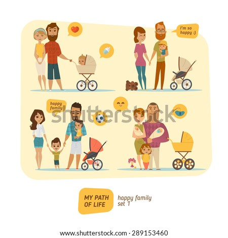 Family infographic with elements and characters - stock vector