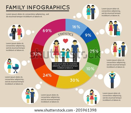 Family infographic with pie chart and mother child marriage symbols vector illustration. - stock vector