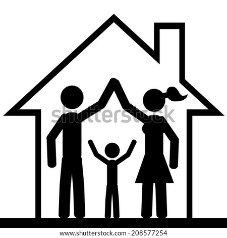 Family inside the house. It is a stick figure vector. EPS 10  - stock vector