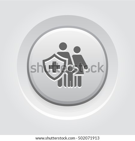 Family Insurance Icon. Grey Button Design. Isolated Illustration. Family with a shield and a cross on it.