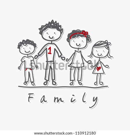 family isolated over gray background. vector illustration - stock vector