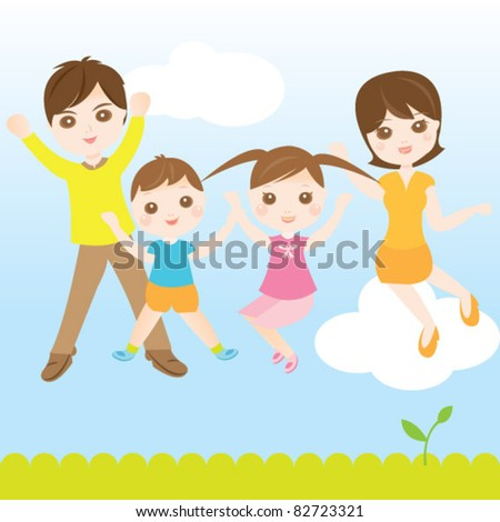 Family jumping high happily - stock vector