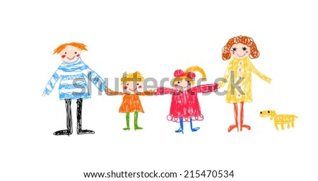 family kid drawing - stock vector